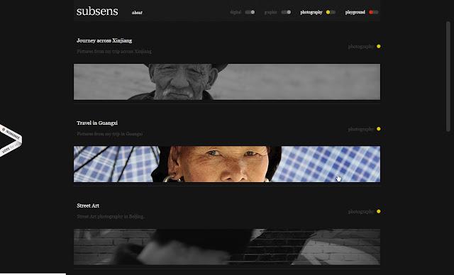 *黑白裡帶出彩色的網站:Subsens Web Site 2