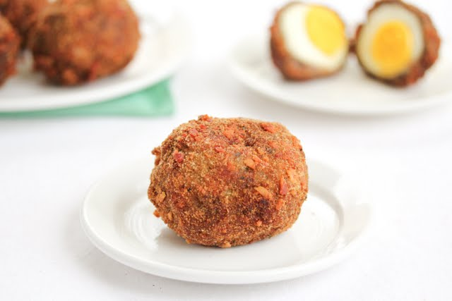 photo of one scotch egg on a plate