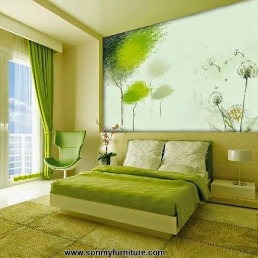 Thiết kế nội thất phòng ngủ với gam màu xanh tươi mát_CONG TY NOI THAT-1