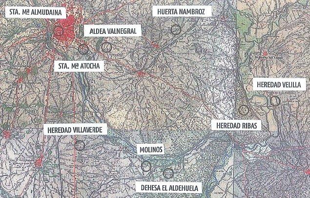 Mapa de la encomienda de Moratalaz