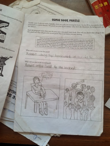 Creating comics in a classroom in Nigeria