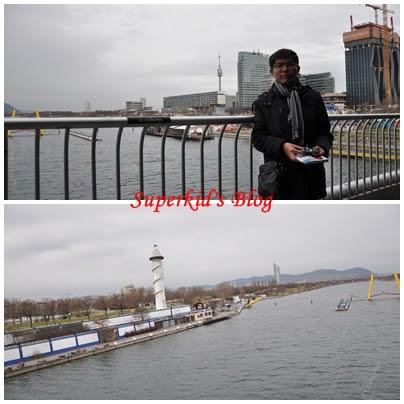 我在維也納的多瑙河正上方