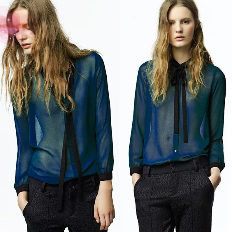 korean womens long sleeve see through blouse shirt tops sef tie bowknot fashion ebay. Black Bedroom Furniture Sets. Home Design Ideas