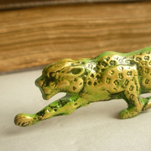 Green Leopard Brooch