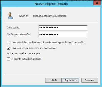 Añadir unidad organizativa y usuario en Active Directory en servidor con Windows Server 2012