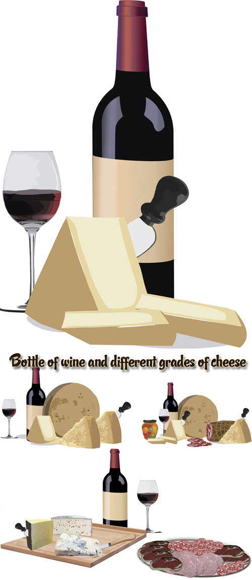 Stock: Bottle of wine and different grades of cheese