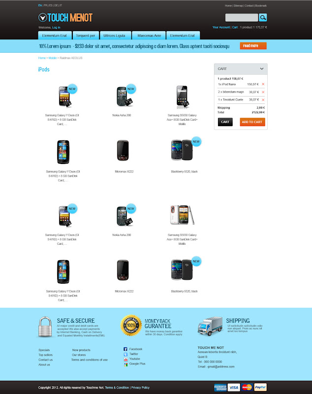 Product List Page -Mobile Prestashop Template