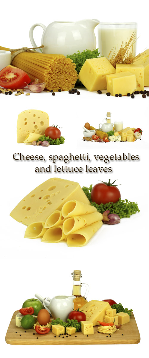 Stock Photo: Cheese, spaghetti, vegetables and lettuce leaves