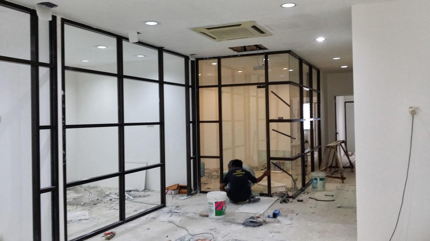 installing glass panel and glass door