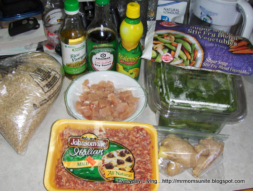 photo of ingredients for chicken with sausage and brown rice recipe