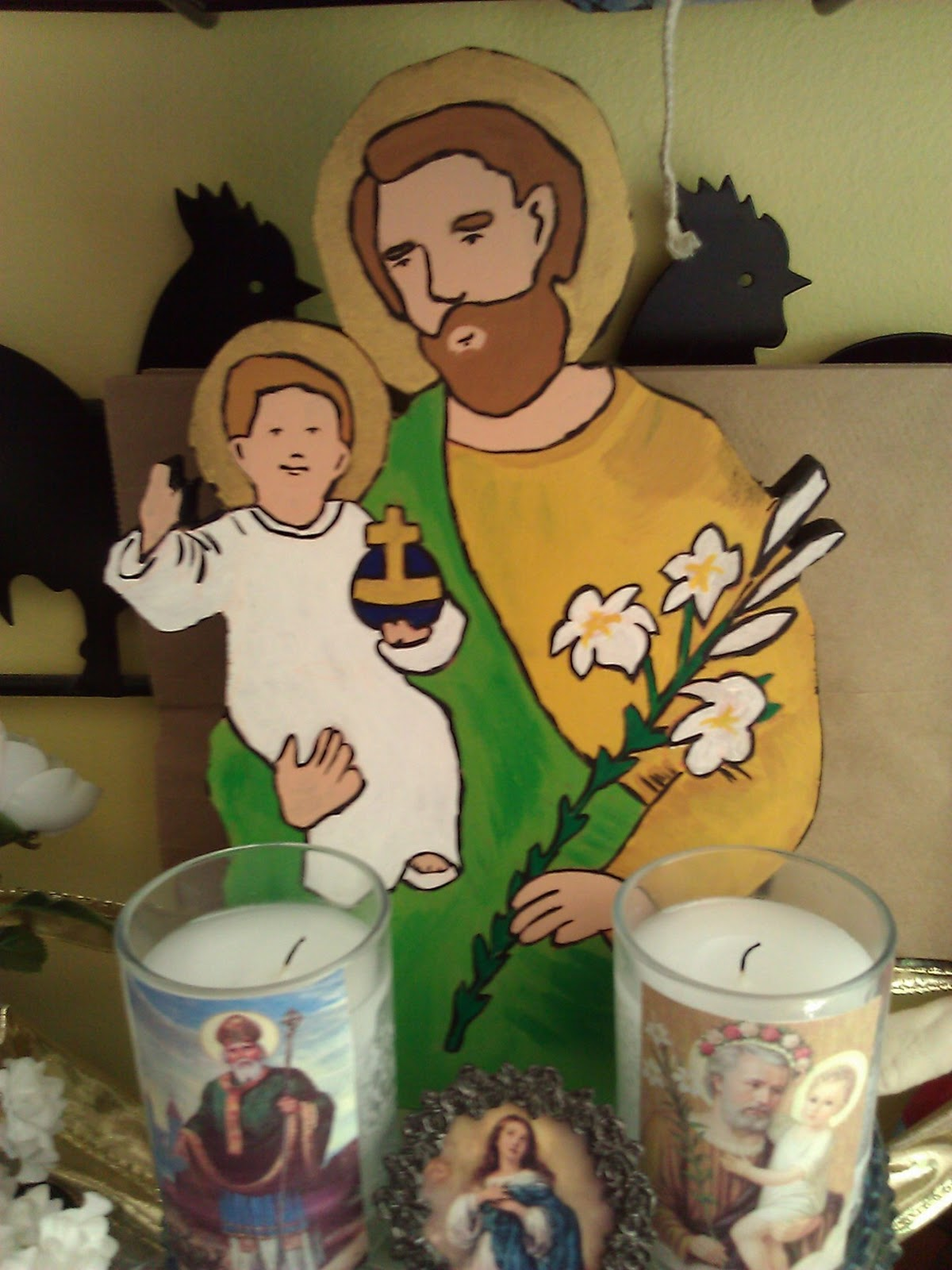 St Joseph Since We Dont Own A Larger Statue Of I Made This For Our Altar