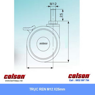 kích thước ty ren cọc vít Bánh xe đôi trục ren CGT Colson Caster Mỹ phi 75 | CGT7554