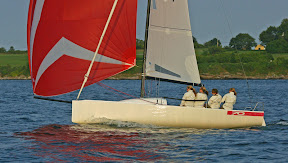 J/70 one-design sailboat- sailing off Newport