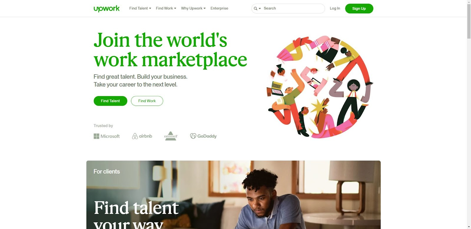 This is the Upwork website home page. This is the world's largest freelance marketplace.