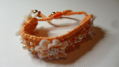 Peach and Pearl Felt and Crochet flower bracelet, close up of flowers