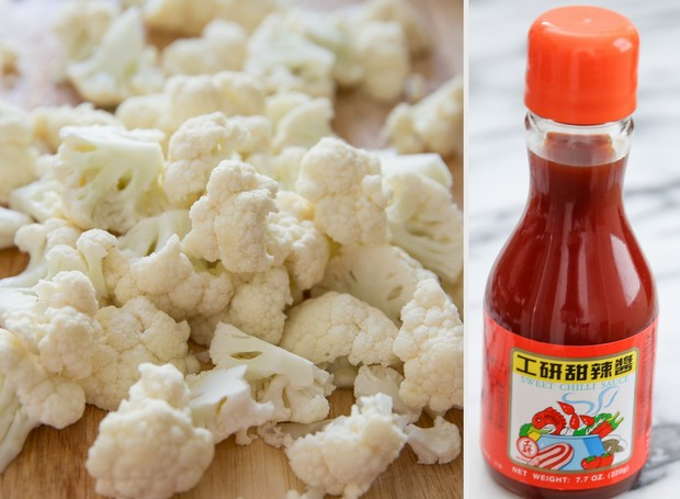 photo collage of prepped cauliflower and a bottle of hot sauce