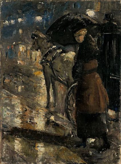 Lesser Ury - Frau und Droschke 1899