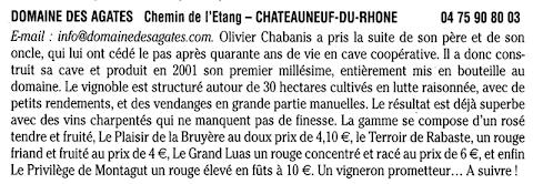 Domaine des Agates - le Petit Futé 2005