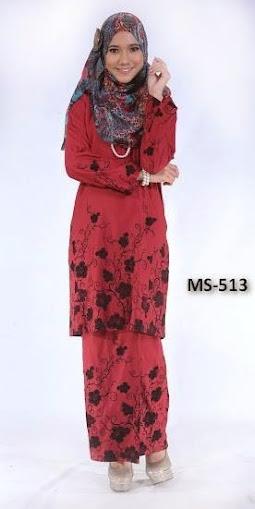 Baju Kurung Pahang Merah Gelap