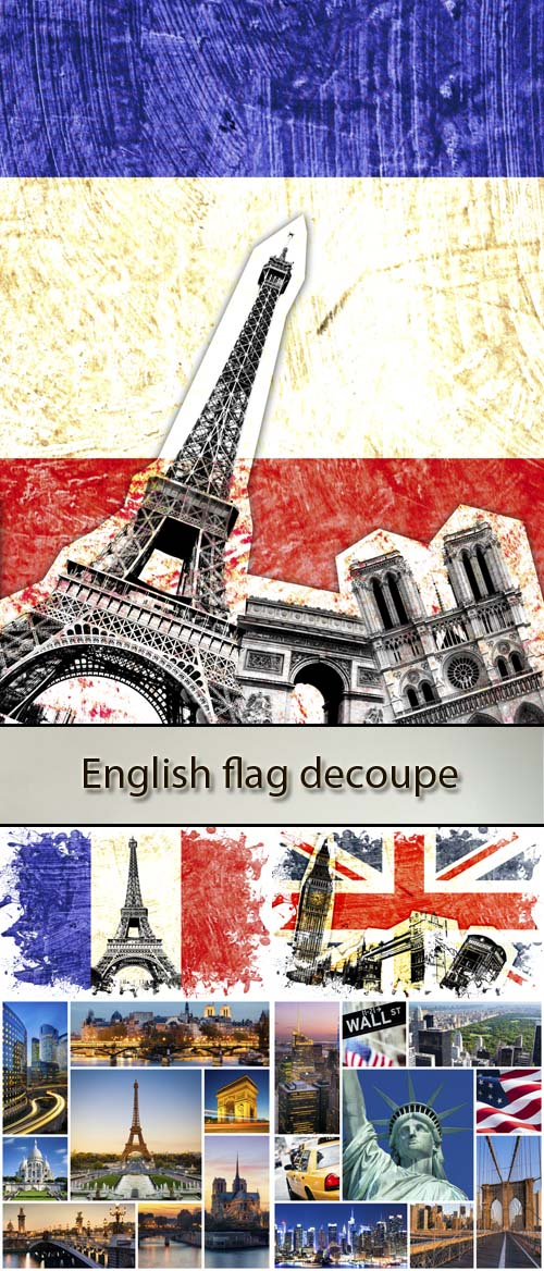 Stock Photo: English, French and American flag and sights
