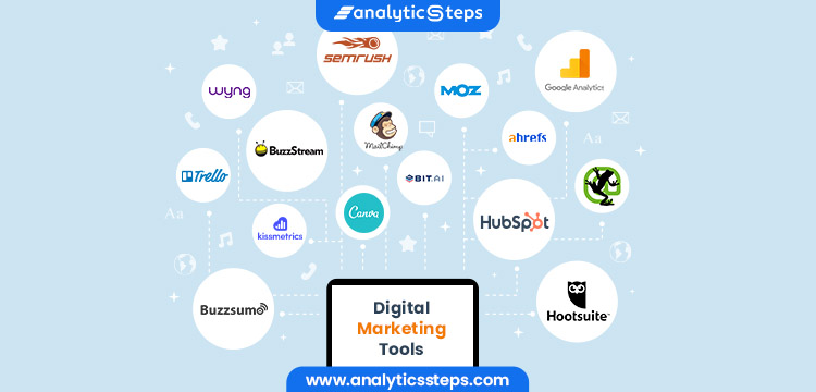 The top Digital Marketing Tools include Moz, Semrush, Google Analytics, Trello, Kissmetrics, Canva, HubSpot, Hootsuite, Buzzsumo, Wyng, Ahrefs, Bit.AI, Screaming Frog, Mailchimp and Buzzstream
