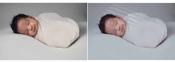 Foto de recém-nascido sendo editada pelo AirBrush