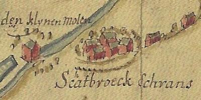 """Kaart uit het Archief van de Raad van Brabant, Rijksarchief Anderlecht, Processen van de gemeenten, 1666. Detail van de """"Scalbroeck schrans""""."""