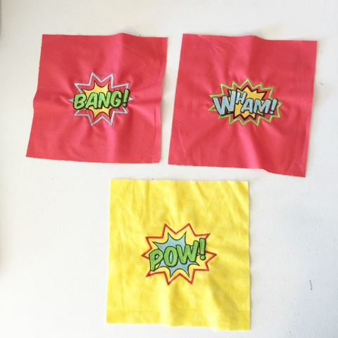Bang, Wham, Pow, embroidered squares for superhero rag quilt set