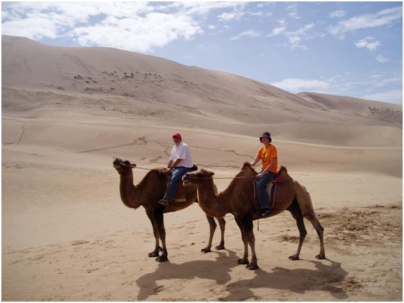 Ruth and I On a Camel Safari in the Gobi Desert, Mongolia
