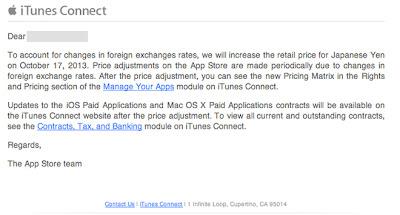 Appleより開発者に送られたメール
