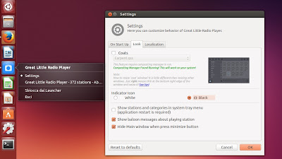 Great Little Radio Player - preferenze e quicklist ubuntu