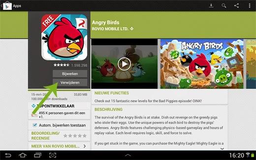 Android App verwijderen via Google Play Store