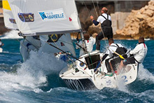 J/80 sailing fast in World Match Race Tour regatta in France