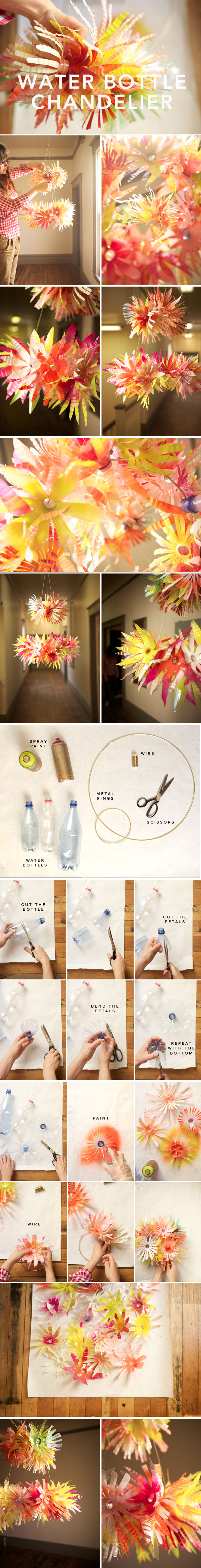 DIY water bottle chandelier