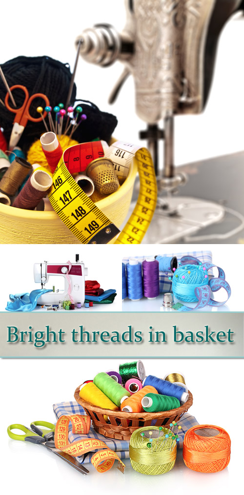 Stock Photo: Bright threads in basket, scissors and measuring tape