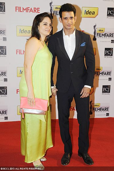 Bollywood couple Sharman Joshi and Prerana Chopra posed for the shutterbugs during the 58th Idea Filmfare Awards 2013, held at Yash Raj Films Studios in Mumbai.Click here for:<br />  58th Idea Filmfare Awards