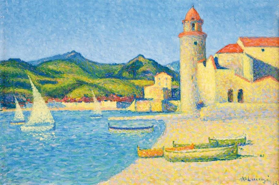 Achille Laugé - Voiles blanches à Collioure