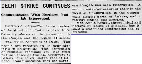 Old India Photos - News published in London on 20-April-1919