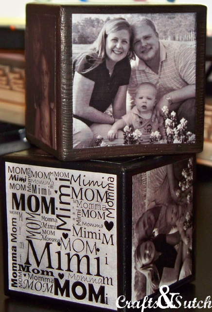 black and white Mother's Day photo cube