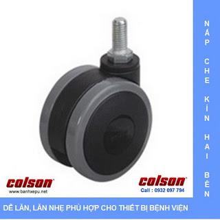 Bánh xe đẩy PU bánh xe đôi CGT trục ren chịu tải trọng 40kg banhxepu.net