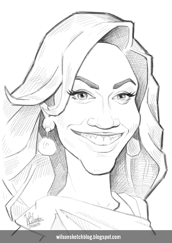 Caricature sketch of Beyoncé Knowles.