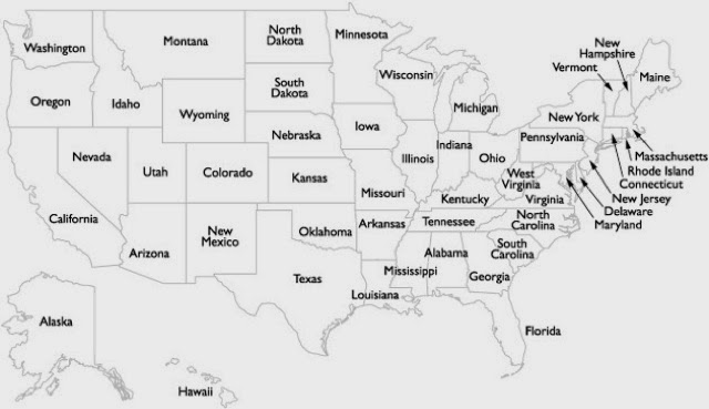 Us Map Without State Names - Us map of 50 states
