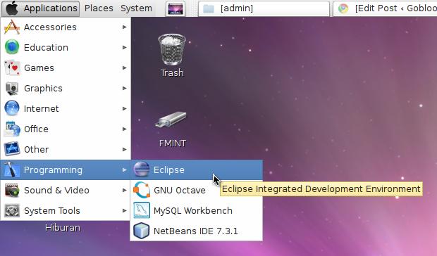Menu Eclipse di Linux Mint 14 : Nadia