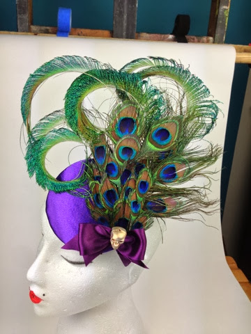 peacock feather fascinator purple blue skull gothic quirky vintage