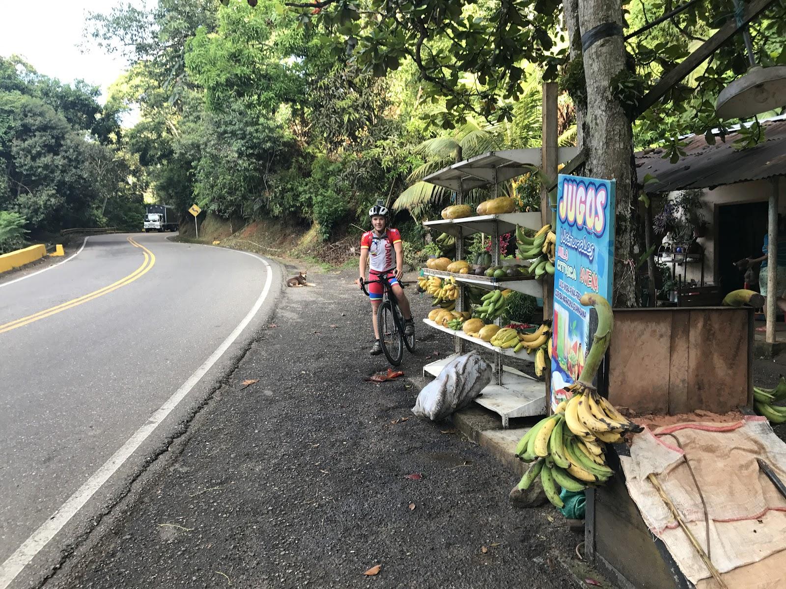 Fruit stand on Hwy 50 Colombia Alto de Letras bike climb