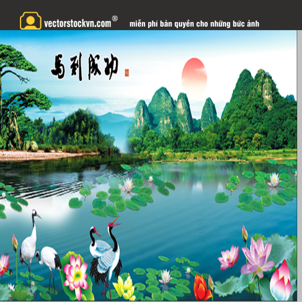 Tranh Hoa Sen Phong cảnh đẹp.