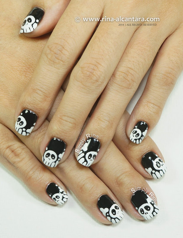 Skulls and Bones Nail Art Design by Simply Rins