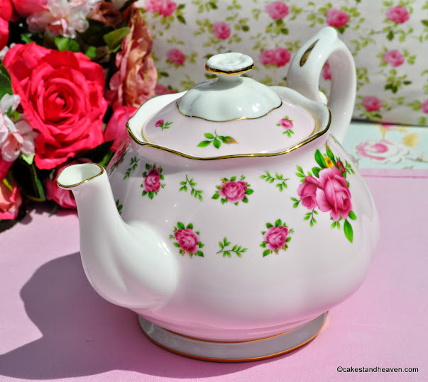 Pink Roses on Pink and White China 2 Pint Teapot