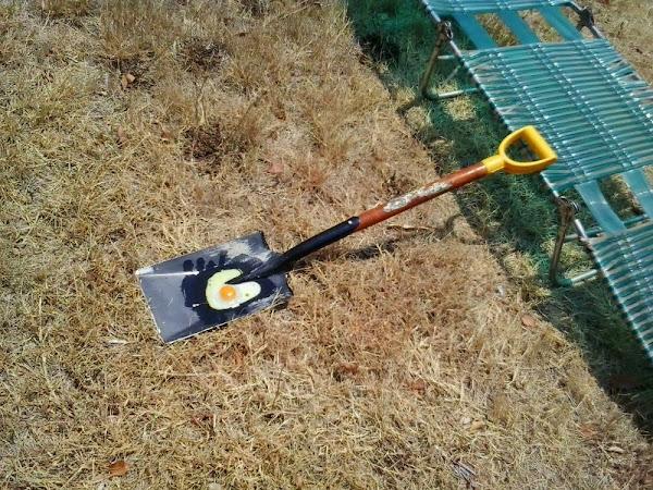 egg on a shovel