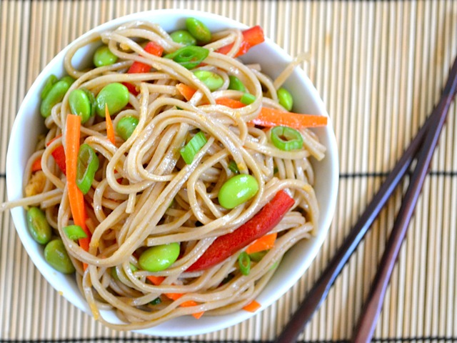 ginger scallion soba salad